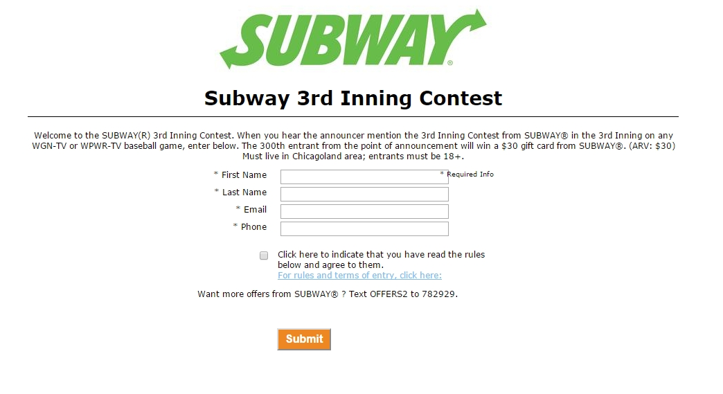 Subway 3rd Inning Contest – Taylor Hope Utzig